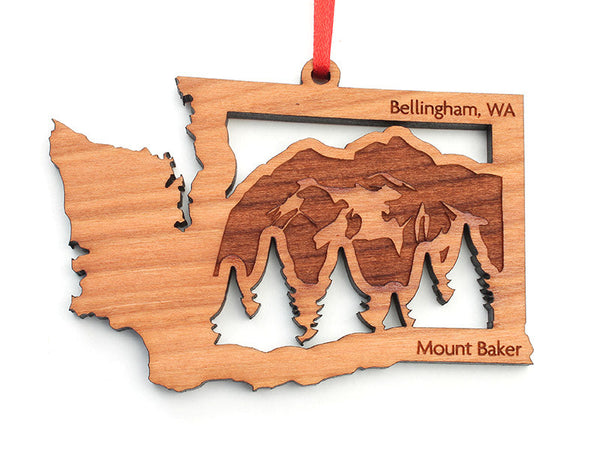 Village Books Washington State Mountain Mount Baker Insert Ornament Engraved - Nestled Pines