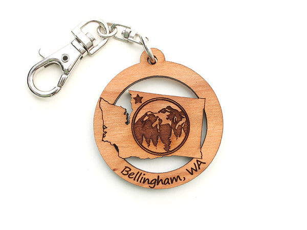 Village Books Washington State Mountain Custom Key Chain - Nestled Pines