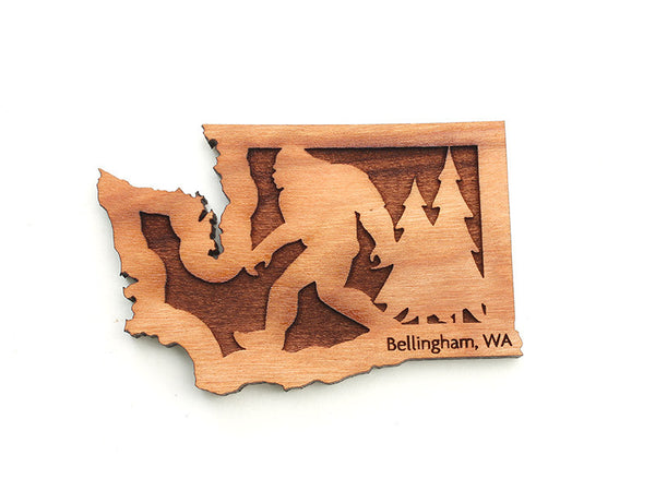 Village Books Washington State Sasquatch Custom Wood Magnet - Nestled Pines