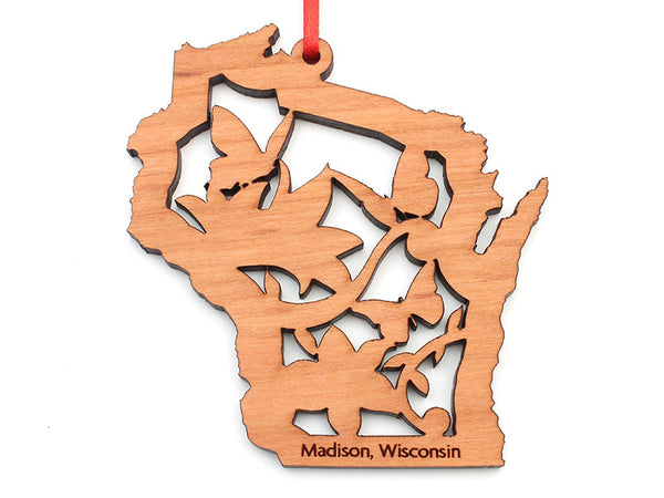 Bruce Company Butterfly Wisconsin State Shape Ornament - Nestled Pines