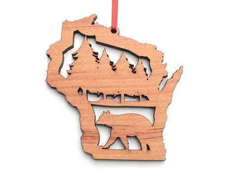 Wisconsin State Bear Insert Ornament - Nestled Pines
