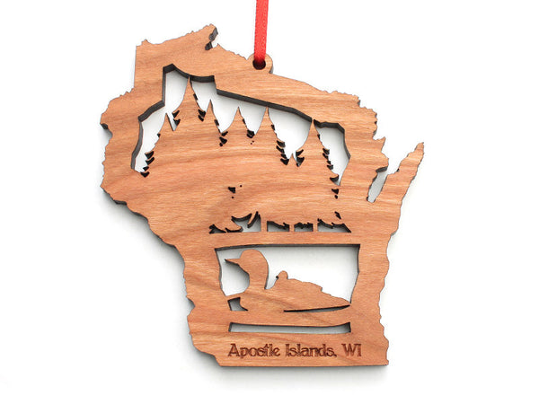 Apostle Island NLS WI Loon Cut Out Ornament - Nestled Pines