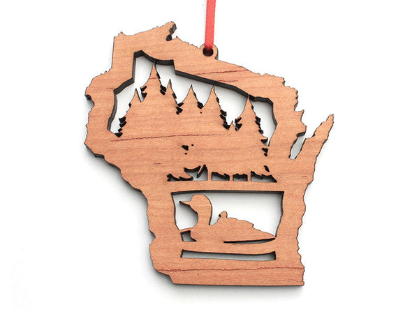 Wisconsin State Loon Theme Ornament - Nestled Pines