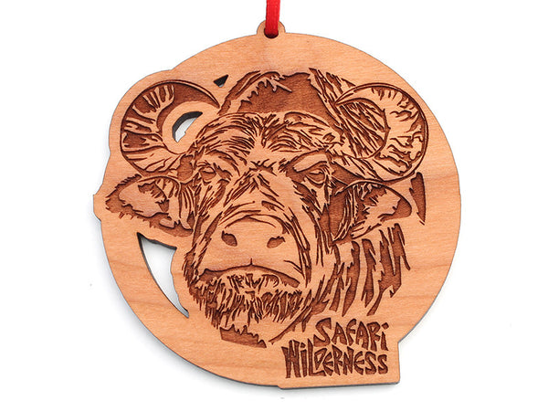 Safari Wilderness Water Buffalo Circle Custom Ornament - Nestled Pines
