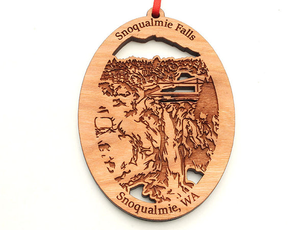 Corners Snoqualmie Falls Custom Oval Ornament