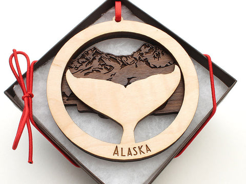 Alaska Whale Fluke Double Ornament