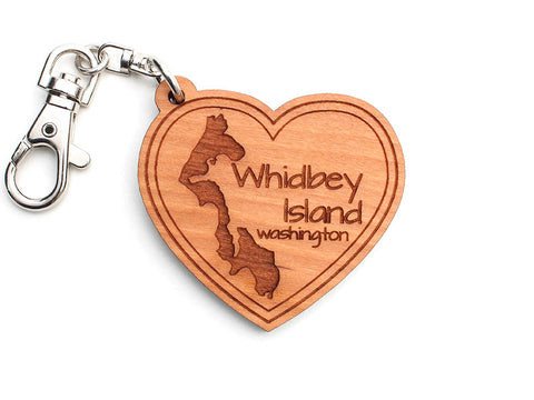 Admiralty Head Whidbey Island Heart Custom Key Chain - Nestled Pines