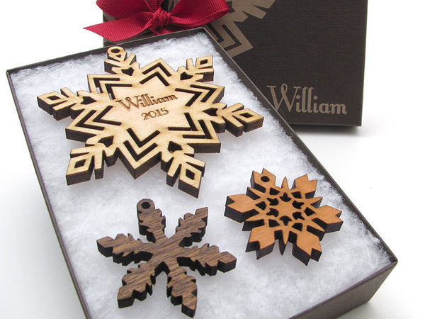 Snowflake with Customized Engraving Christmas Ornament - Nestled Pines - 2