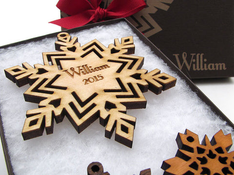 Snowflake with Customized Engraving Christmas Ornament - Nestled Pines - 1