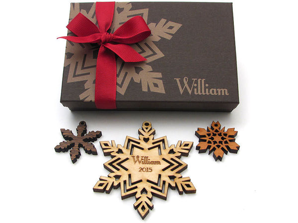 Snowflake with Customized Engraving Christmas Ornament - Nestled Pines - 5