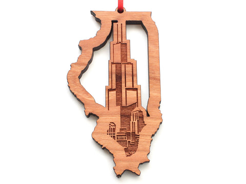 Willis Tower Illinois State Shape Insert Ornament