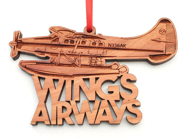 Wings Airways Alaska Float Plane Text Ornament