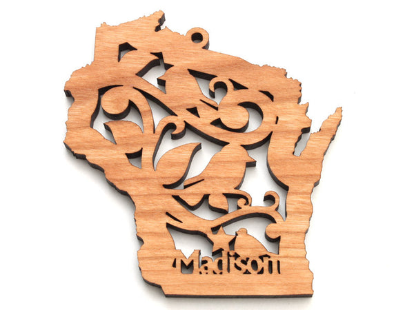 Wisconsin State Madison Bird Ornament - Nestled Pines