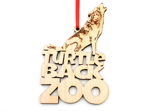 Turtle Back Zoo Wolf Text Ornament - Nestled Pines
