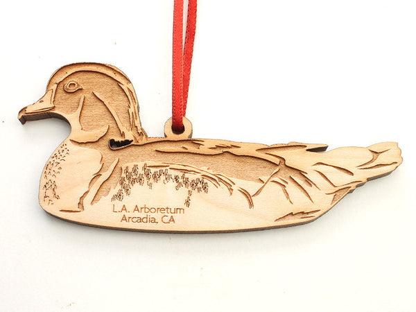 L. A. Arboretum Wood Duck Custom Engraved Ornament - Nestled Pines