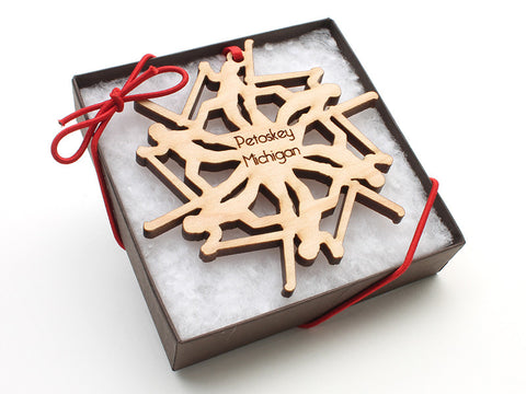 Ciao Bella Cross Country Skier Snowflake Ornament Gift Box - Nestled Pines