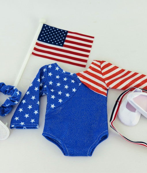 Red, White & Bright Blue Gymnastics Leo Set
