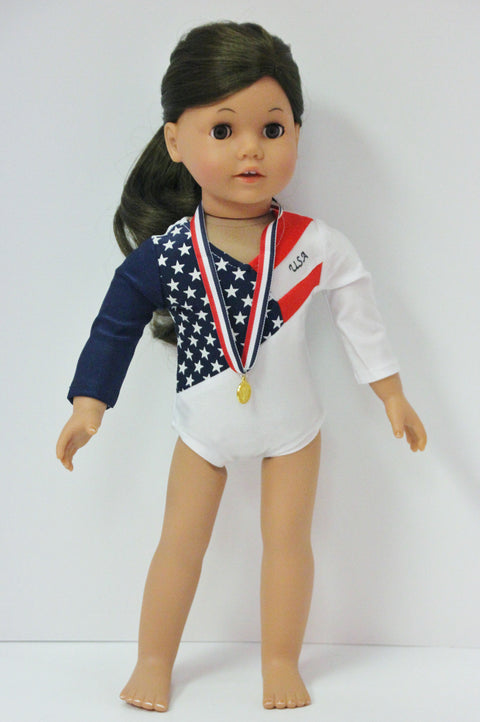 Red, White & Navy Blue Gymnastics Leo