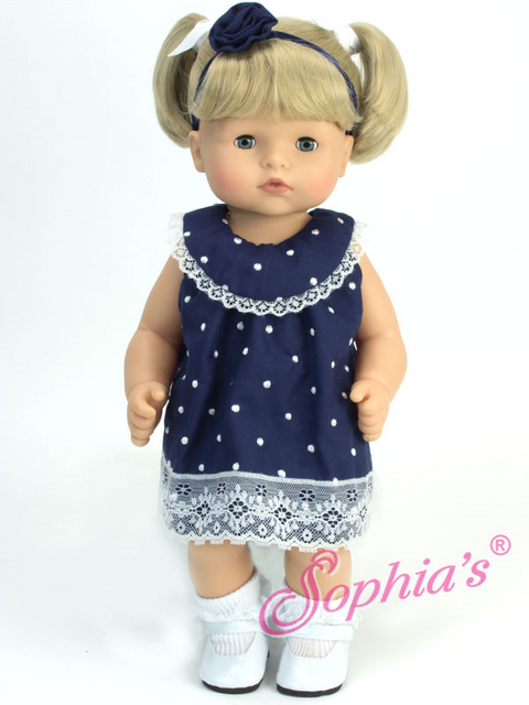 Bitty Baby Navy Polka Dot Dress