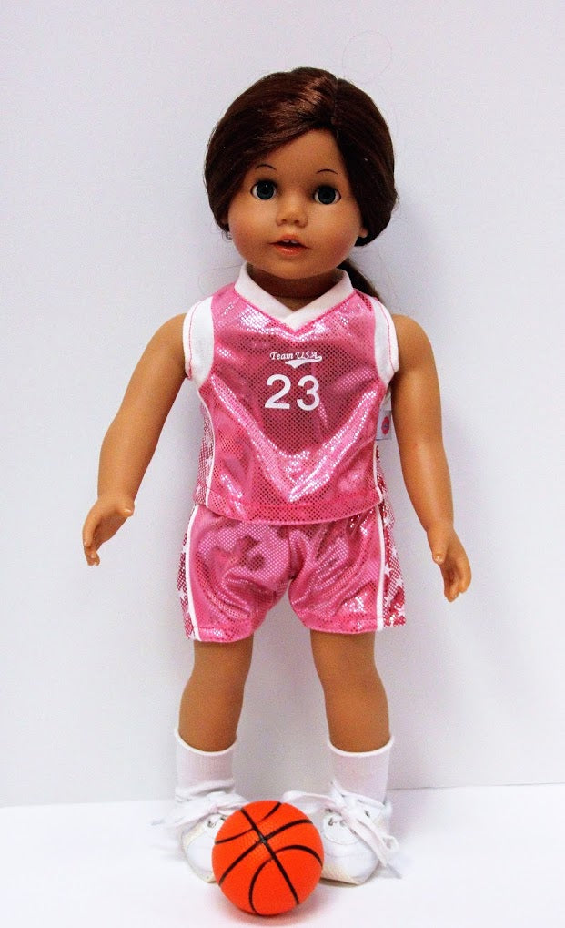 4ee7040e8 Metallic Pink Basketball Uniform – Alice s Attic Doll Clothes