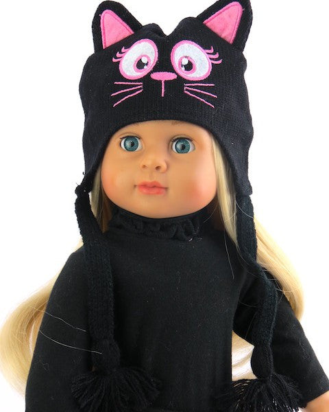 Black Knit Kitten Face Hat