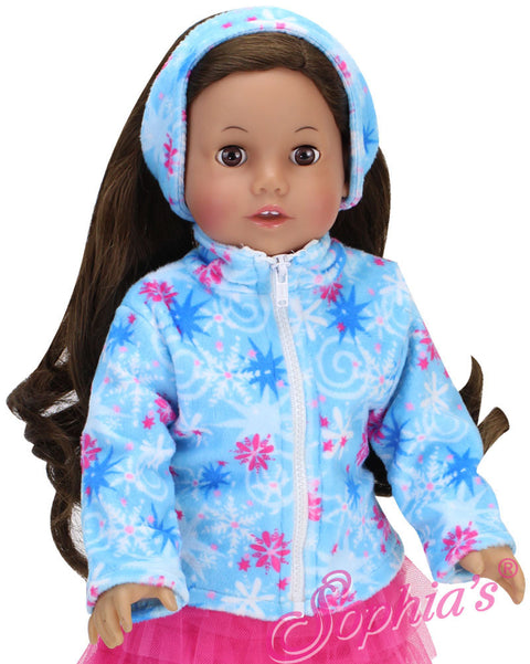 Blue Snowflake Fleece Jacket & Ear Warmer