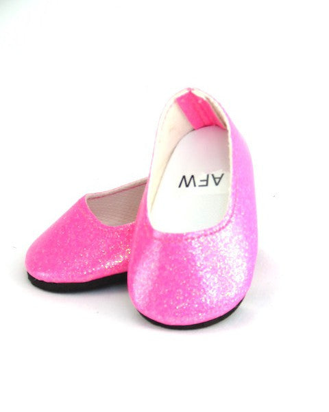 Bright Pink Glitter Flats Shoes