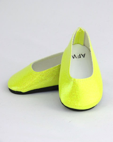Bright Yellow Glitter Flats Shoes