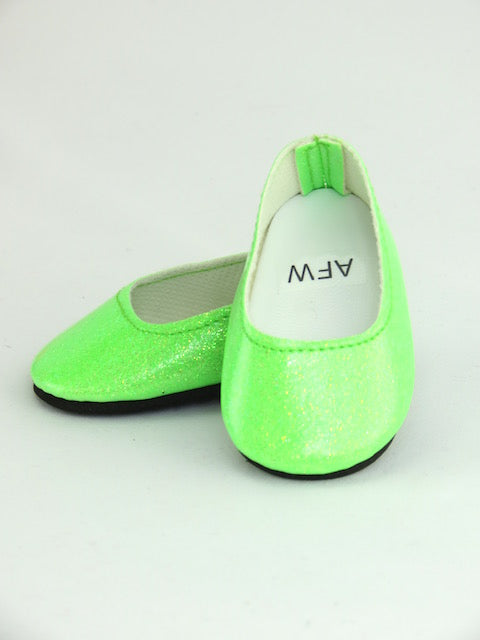 Bright Lime Glitter Flats Shoes