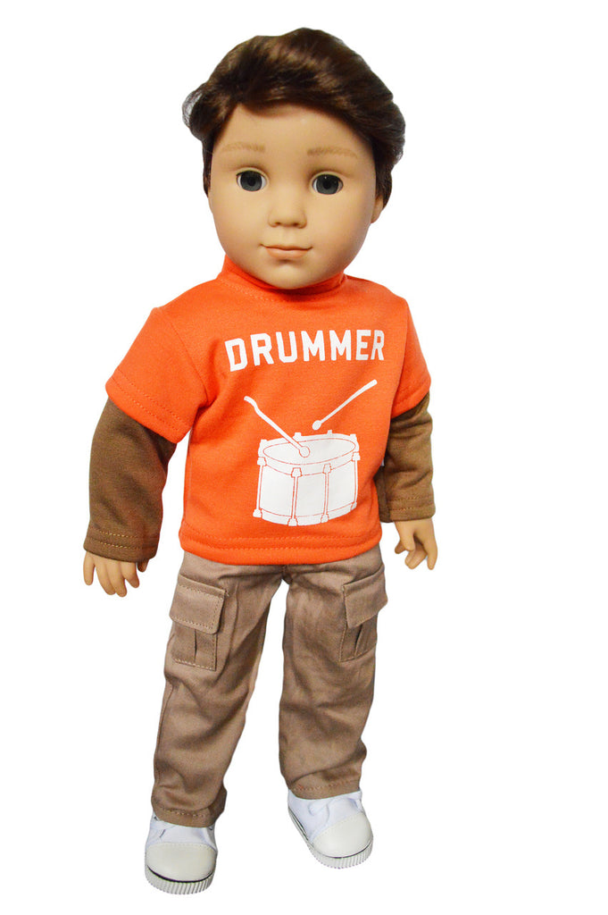 "Orange ""Drummer"" Shirt & Khaki Pants"