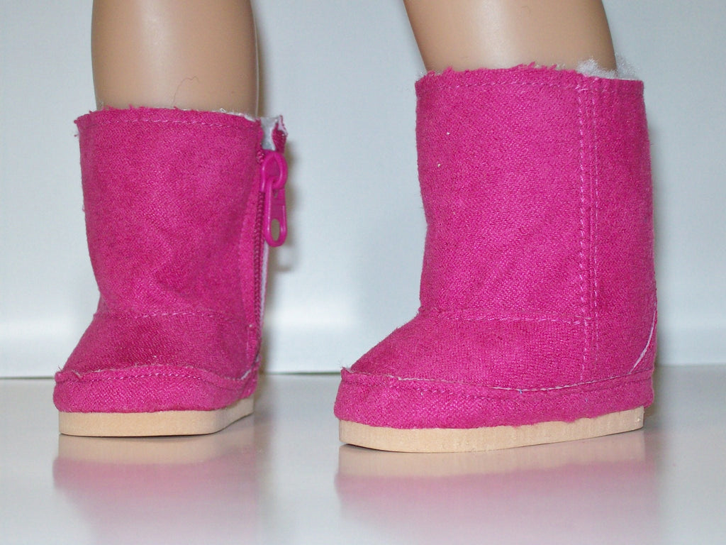 Hot Pink Suede Ewe Boots