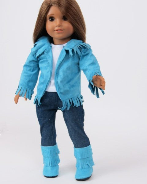 Teal Fringe Cowgirl Outfit