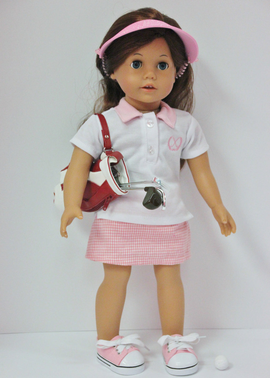 Pink Golf Outfit with Clubs & Bag