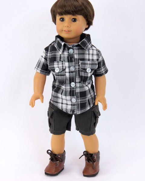 Gray Plaid Shirt & Cargo Shorts