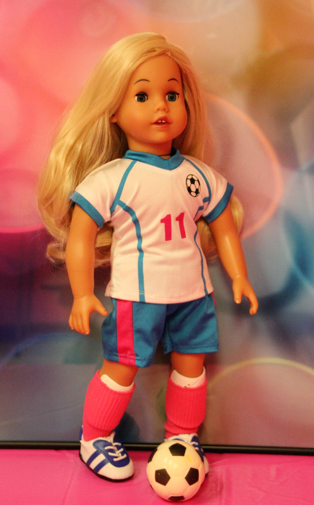 White, Blue & Pink Soccer Uniform