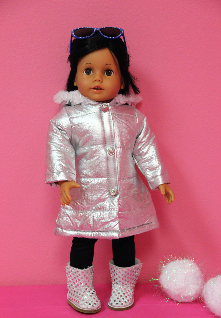 Silver Puffer Coat with Hood