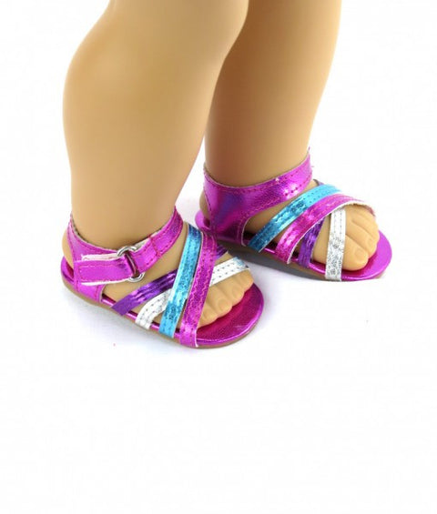 Multi Color Metallic Sandals