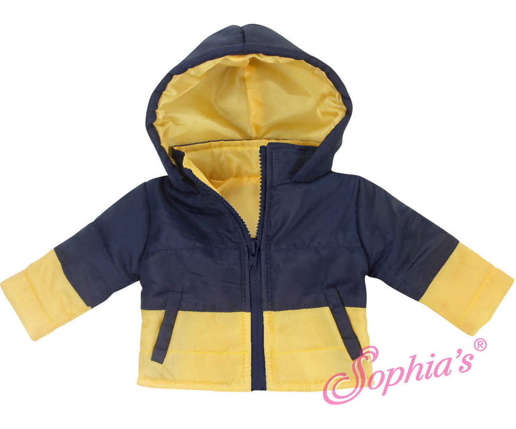 Navy & Yellow Puffy Jacket