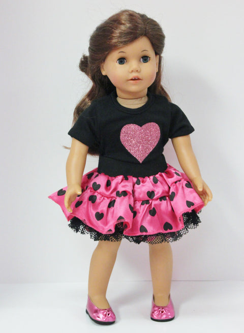 Black Top with Heart & Reversible Love Skirt