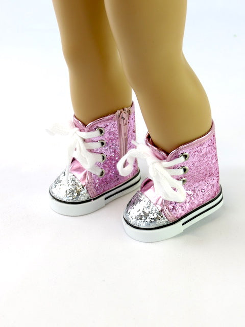 Pink High Top Glitter Sneakers