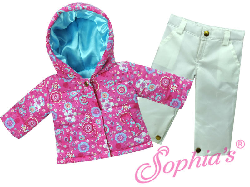 Pink & White Hooded Parka & Snowboard Pants