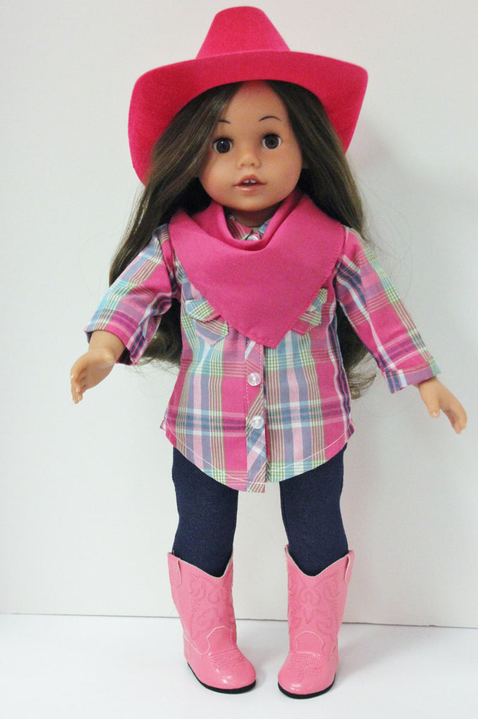 Pink & teal plaid shirt/jeggings/neck scarf