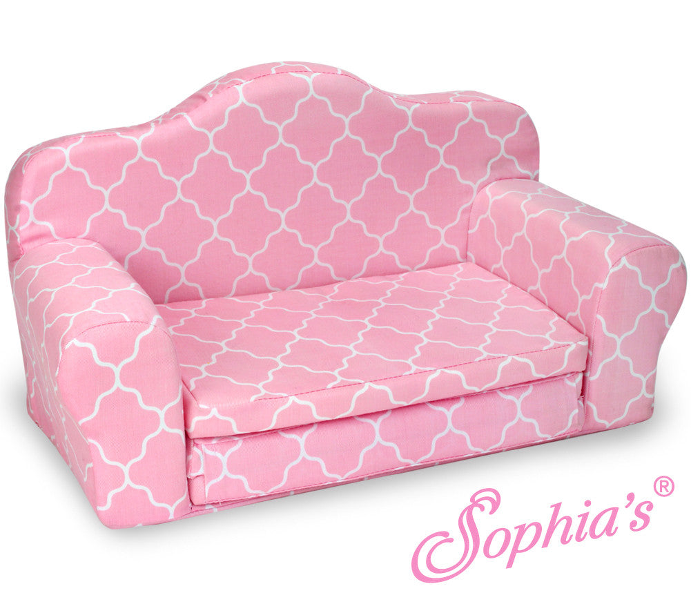 Pink Sofa with Fold Out Bed