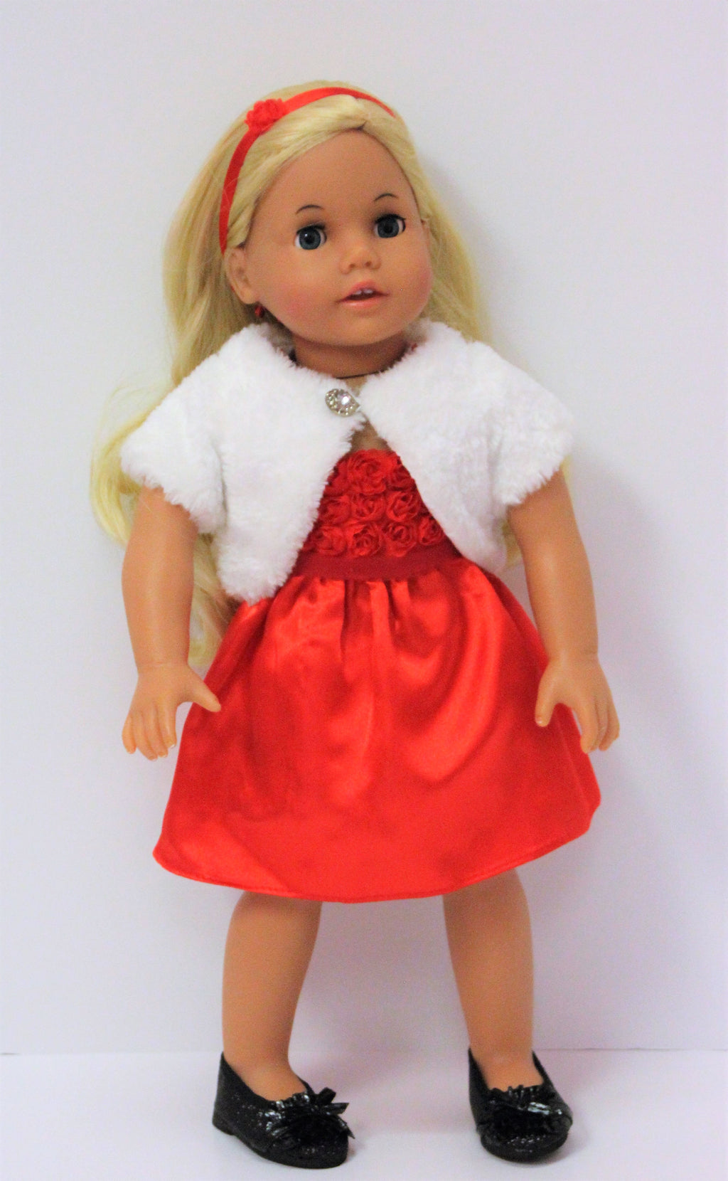 Red dress with white shrug
