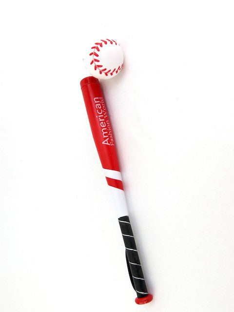Red Softball/Baseball Bat & Ball