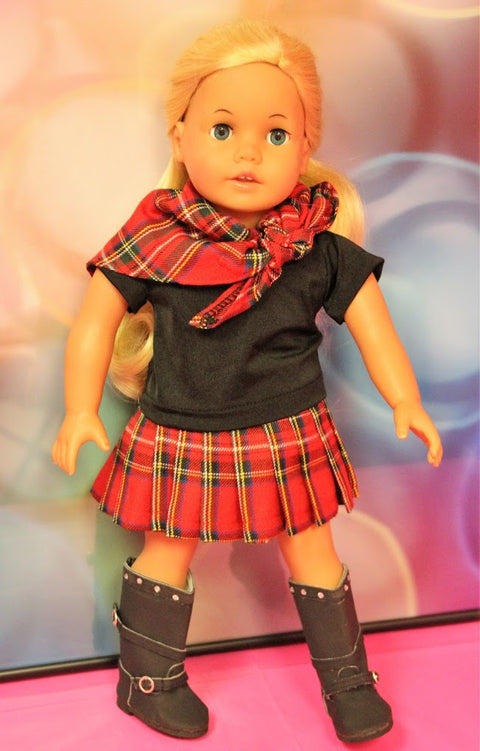 Red & Black Plaid Skirt Set