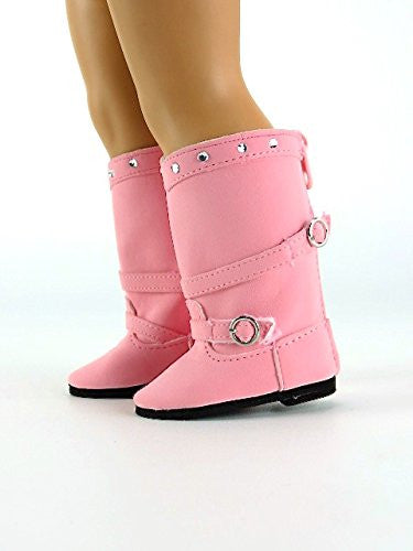Tall Pink Boots with Rhinestones & Buckles