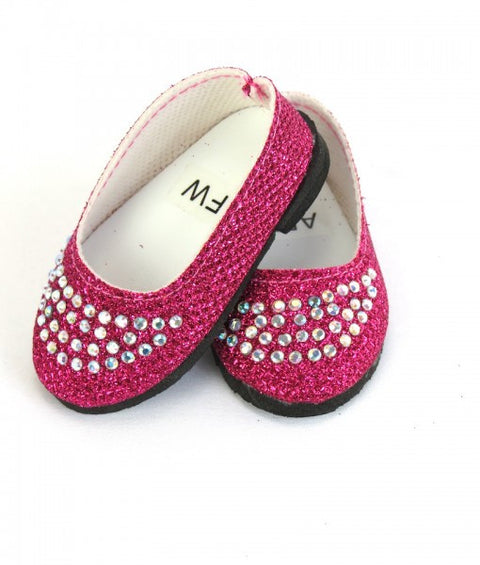 Hot Pink Slip On Shoes with Rhinestones
