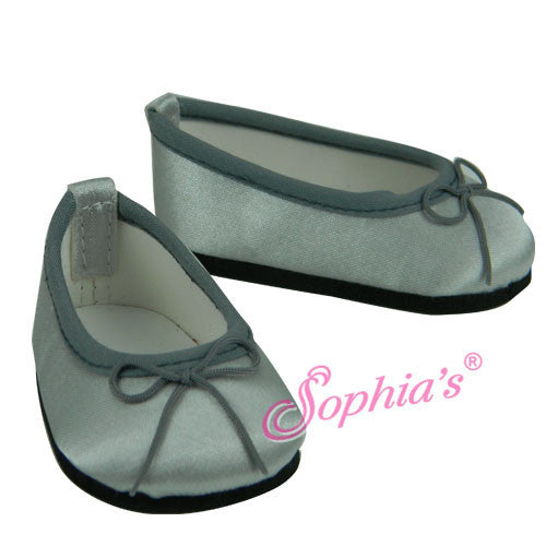 Silver Satin Ballet Flats Shoes