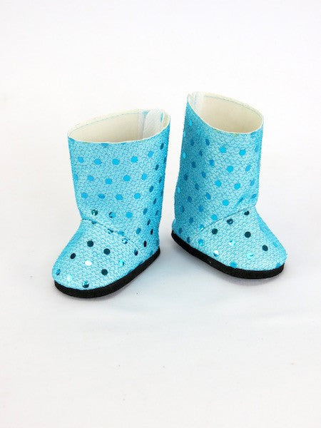 Light Blue Sequin Boots